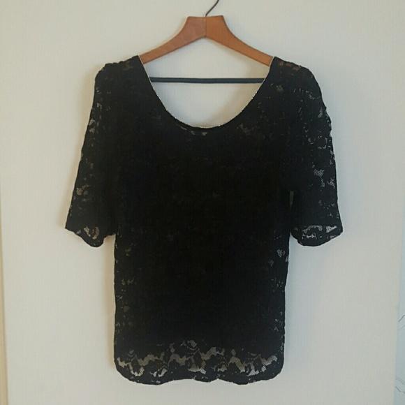 1f60bdb3e7c00 White House Black Market Black Lace peplum blouse.  M 5a9040323a112e572db3f76c